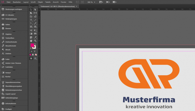 Screenshot Indesign. Veredelung richtig anlegen
